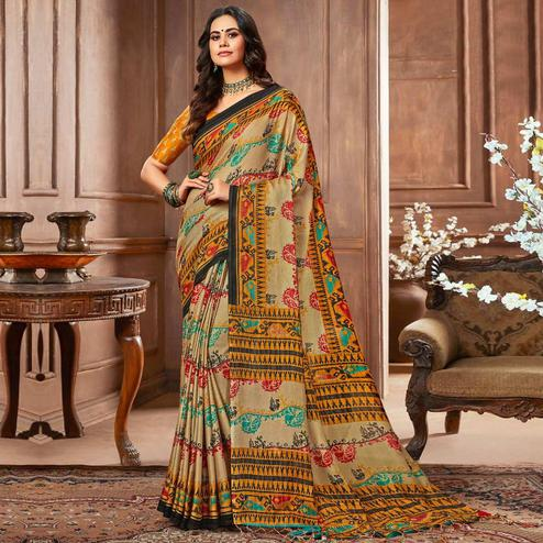 Refreshing Beige Colored Casual Printed Linen Silk Saree