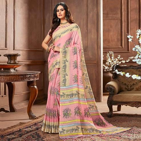 Magnetic Pink Colored Casual Printed Linen Silk Saree