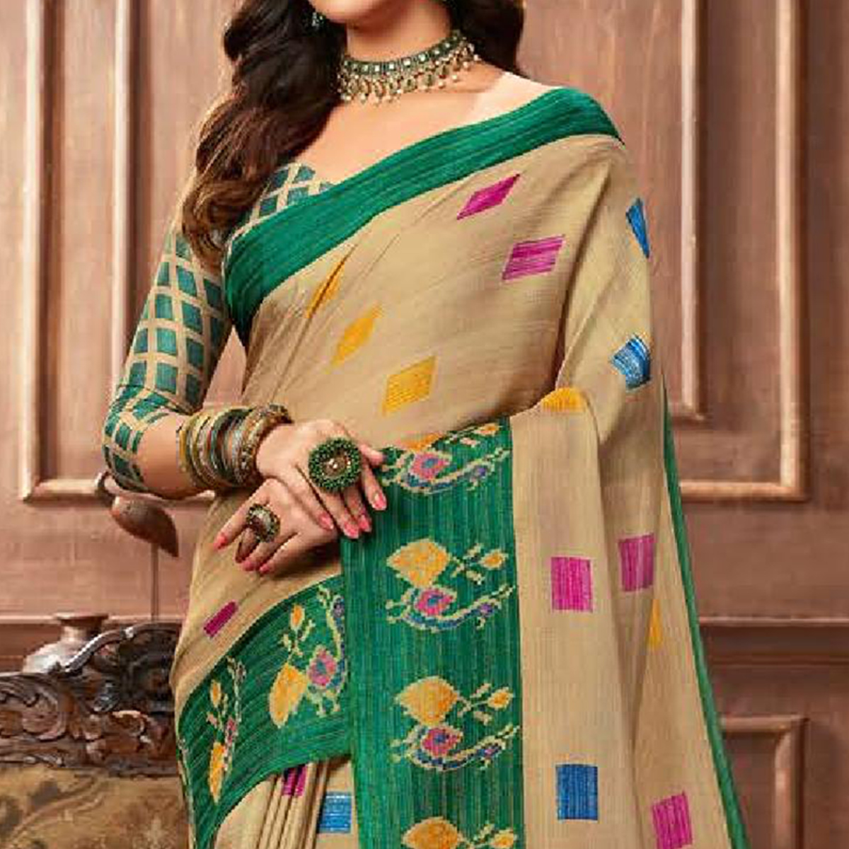 Hypnotic Beige Colored Casual Printed Linen Silk Saree