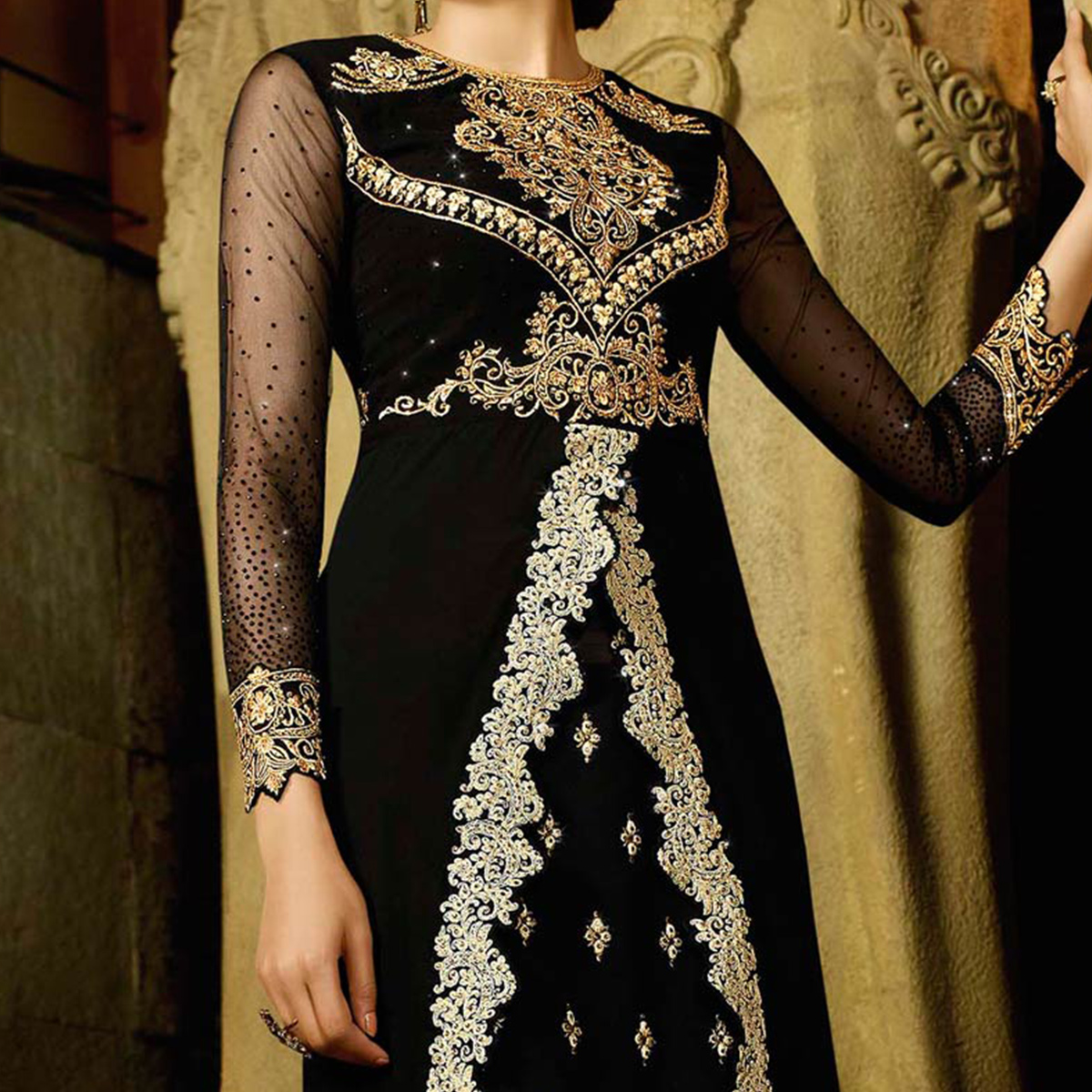 Elegant Black Royal Georgette Indo Western Suit