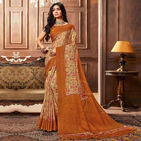 Excellent Cream Colored Casual Printed Linen Silk Saree