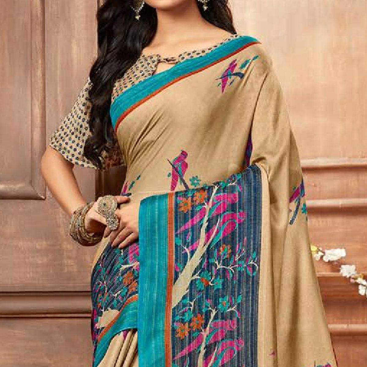 Preferable Beige Colored Casual Printed Linen Silk Saree