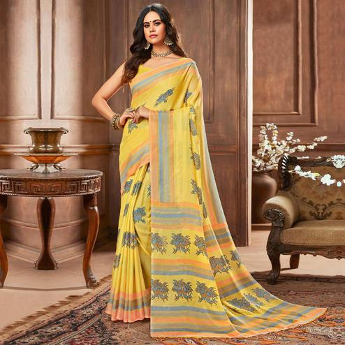 Marvellous Yellow Colored Casual Printed Linen Silk Saree