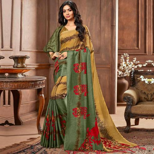 Flamboyant Yellow-Green Colored Casual Printed Linen Silk Saree