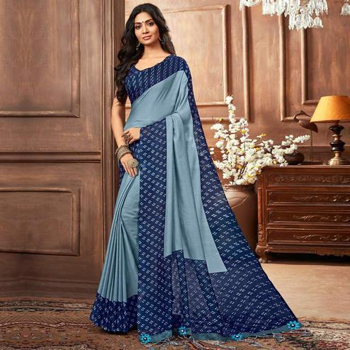 Pretty Light Blue Colored Casual Printed Linen Silk Saree