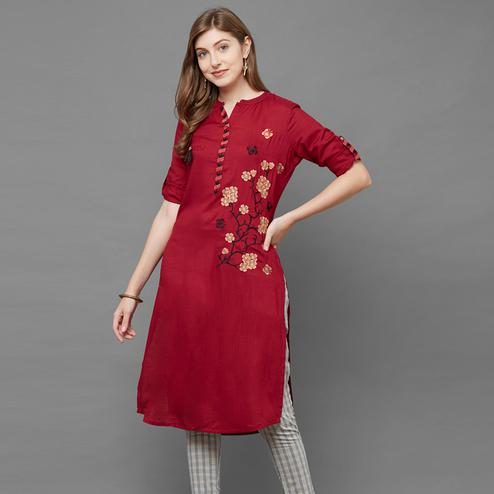 Delightful Maroon Colored Partywear Embroidered Cotton Kurti