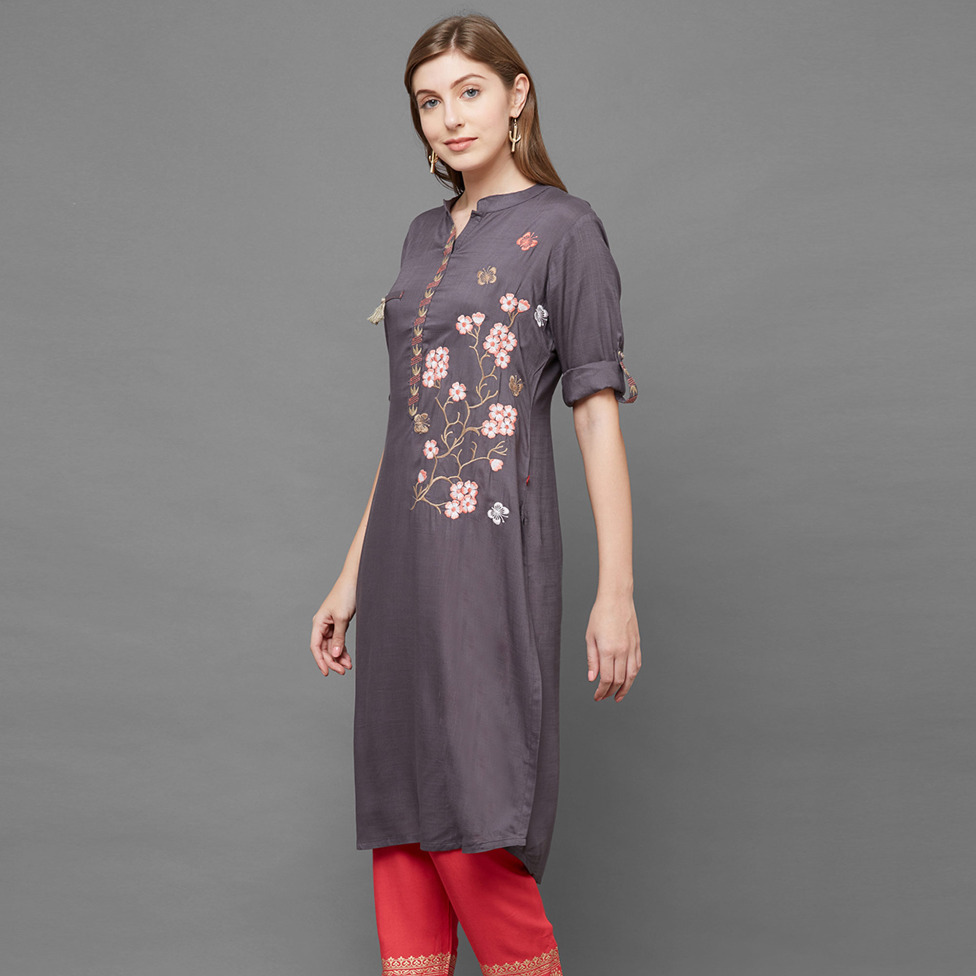 Engrossing Gray Colored Partywear Embroidered Cotton Kurti