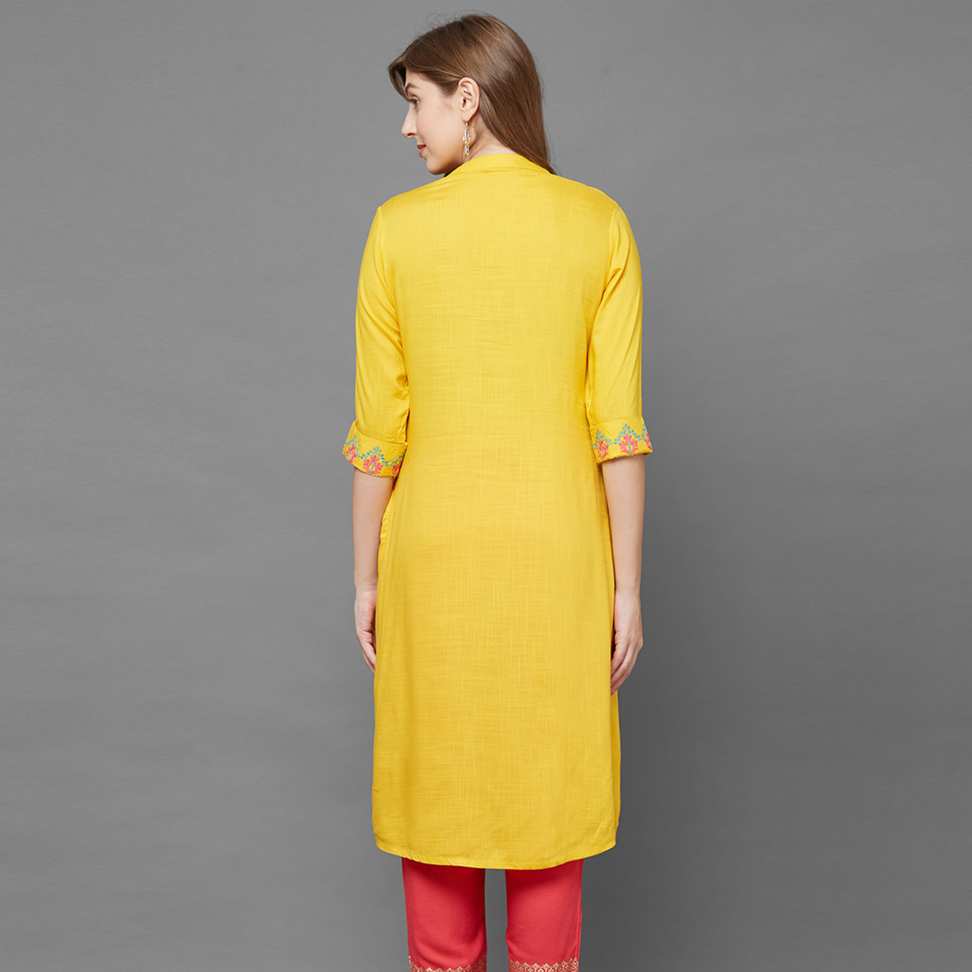 Captivating Yellow Colored Partywear Embroidered Cotton Kurti