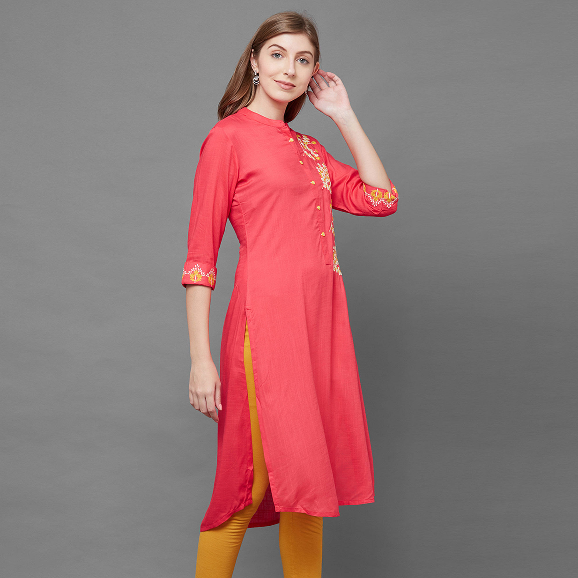 Innovative Pink Colored Partywear Embroidered Cotton Kurti