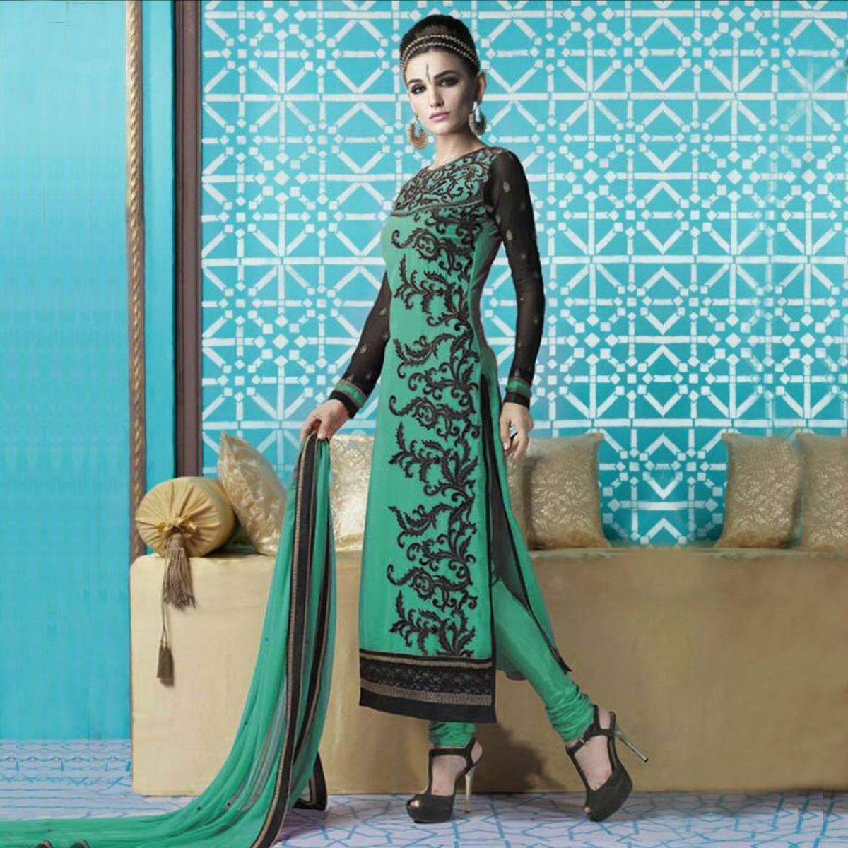 Green Party Wear Georgette Churidar Suit