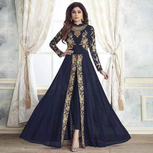 Delightful Navy Blue Colored Partywear Embroidered Georgette Suit