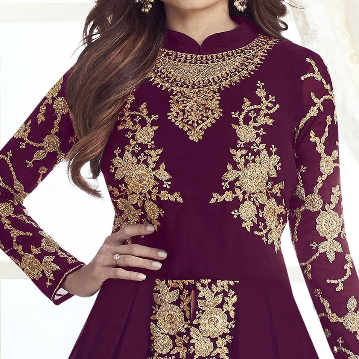 Engrossing Wine Colored Partywear Embroidered Georgette Suit