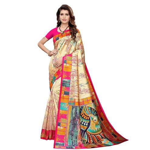 Intricate Beige-Pink Colored Casual Printed Art Silk Saree