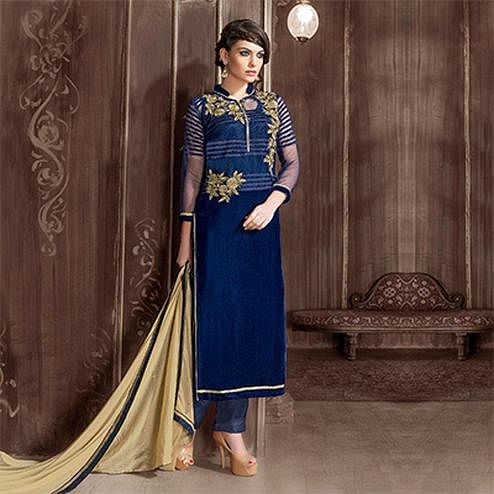 Navy Blue Velvet Suit with Heavy Embroidery