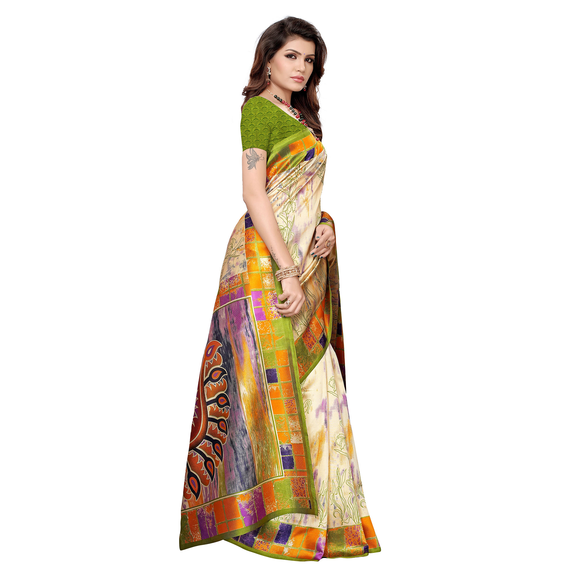 Desirable Beige-Green Colored Casual Printed Art Silk Saree