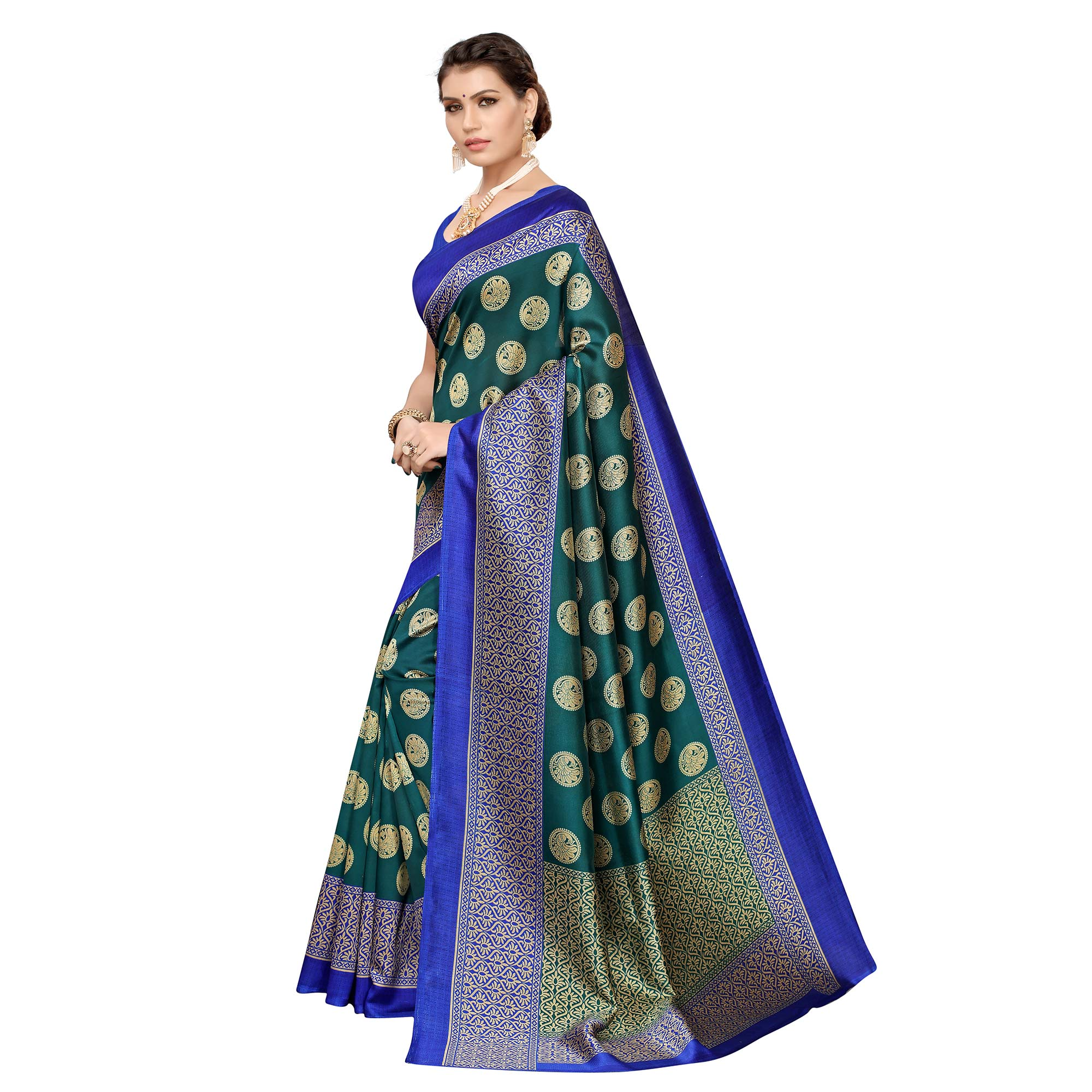 Sophisticated Green Colored Casual Printed Art Silk Saree