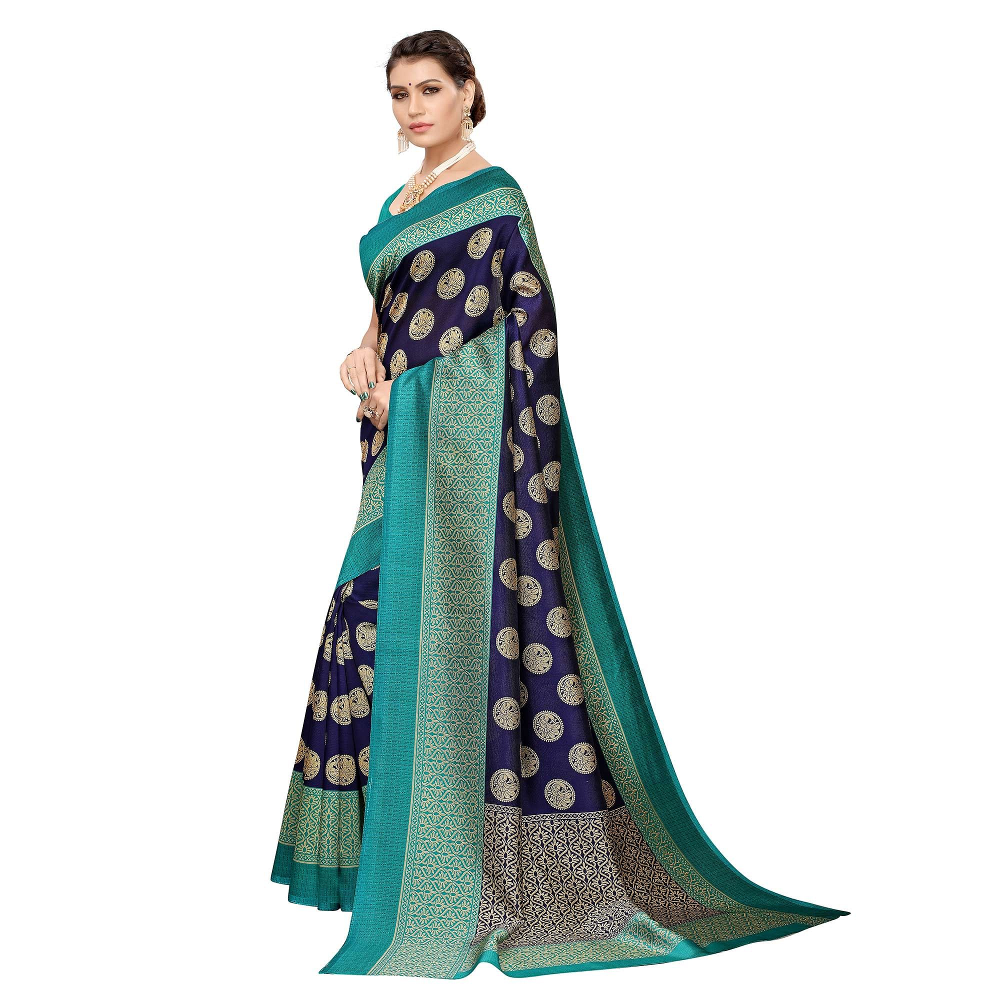 Elegant Navy Blue Colored Casual Printed Art Silk Saree