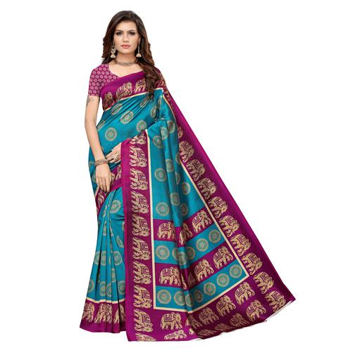 Pleasant Rama Blue Colored Casual Printed Art Silk Saree
