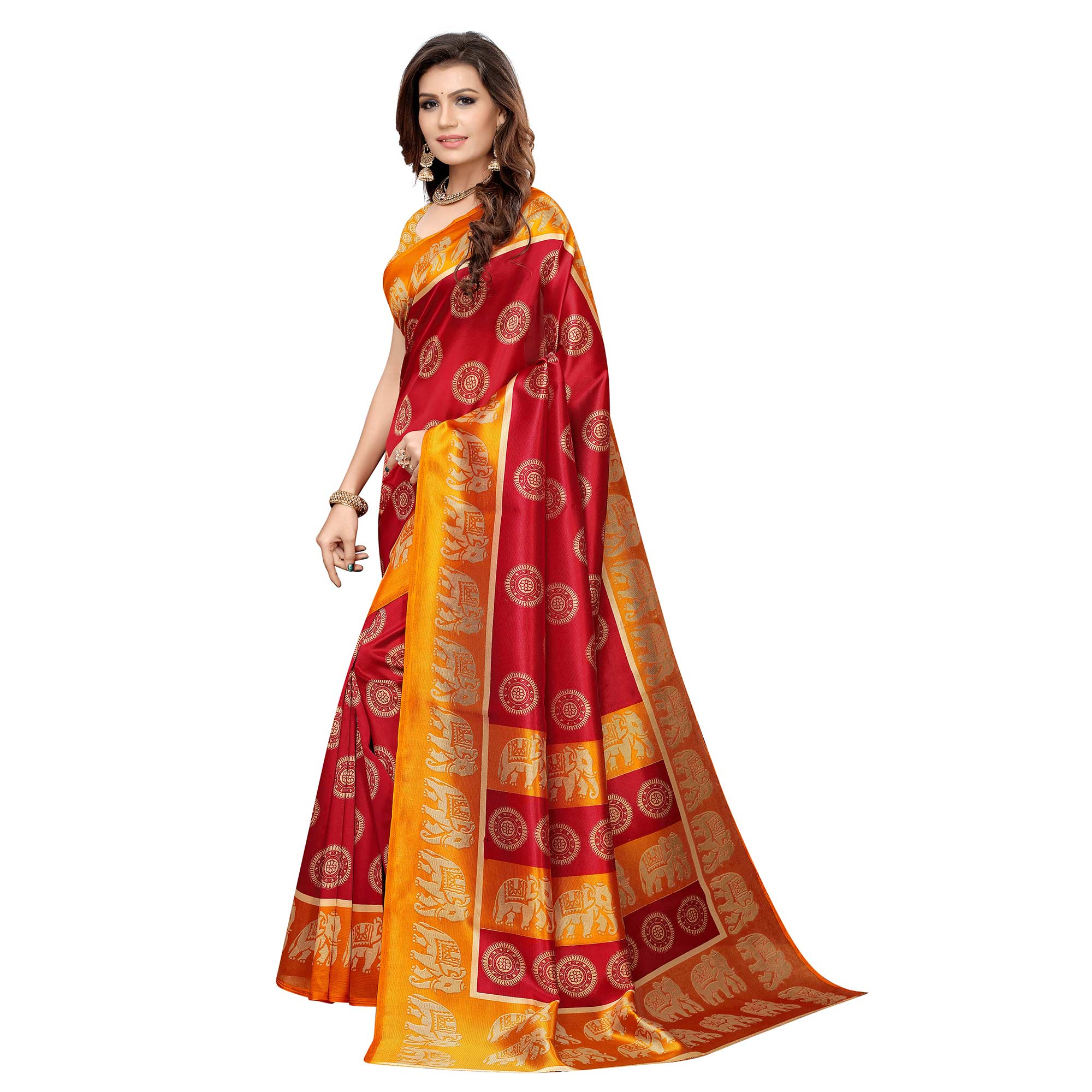 Opulent Red Colored Casual Printed Art Silk Saree
