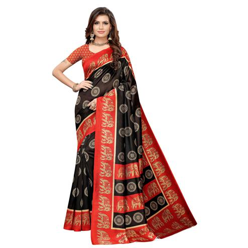 Energetic Black Colored Casual Printed Art Silk Saree