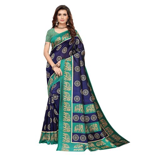 Glowing Navy Blue Colored Casual Printed Art Silk Saree