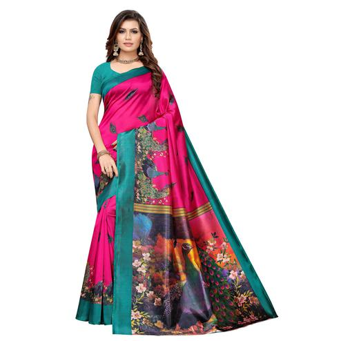 Gleaming Pink Colored Casual Printed Art Silk Saree