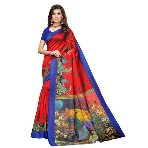 Mesmeric Red Colored Casual Printed Art Silk Saree