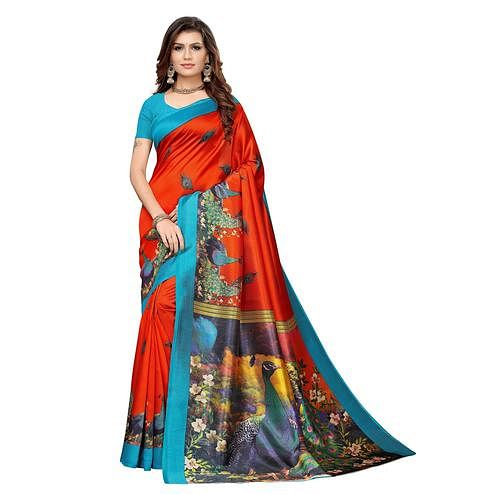 Unique Orange Colored Casual Printed Art Silk Saree