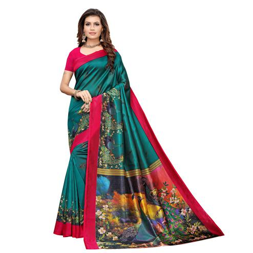 Demanding Teal Green Colored Casual Printed Art Silk Saree
