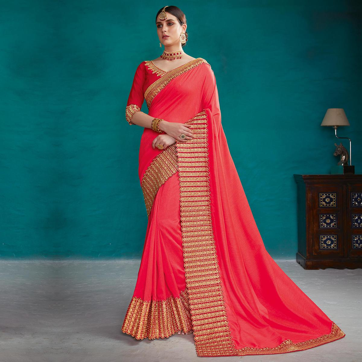Adorning Peach Colored Partywear Embroidered Rangoli Silk Saree