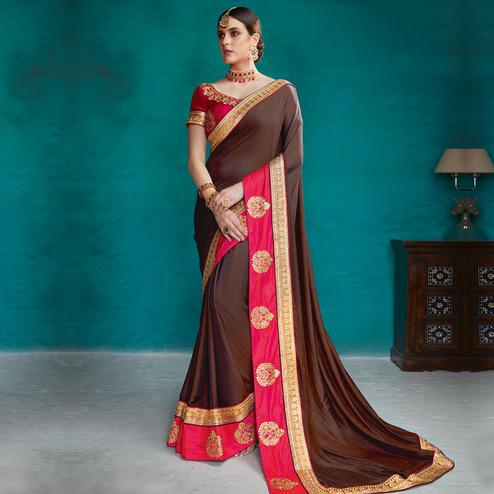 Appealing Brown Colored Partywear Embroidered Rangoli Silk Saree