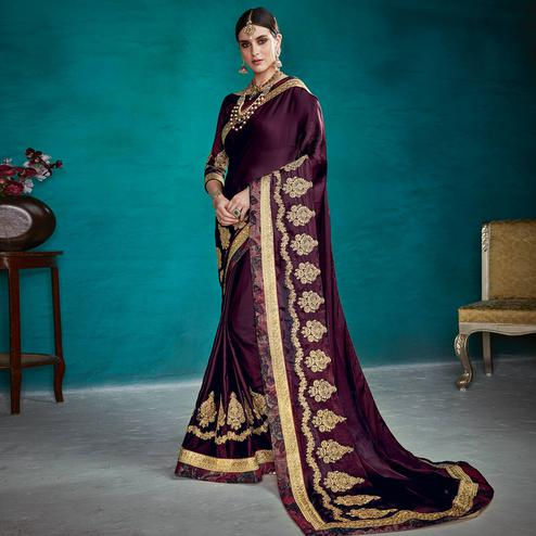 Capricious Dark Purple Colored Partywear Embroidered Rangoli Silk Saree