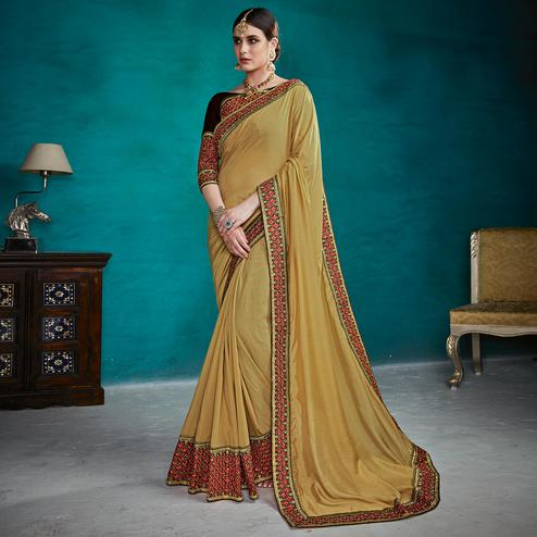 Entrancing Light Olive Green Colored Partywear Embroidered Rangoli Silk Saree