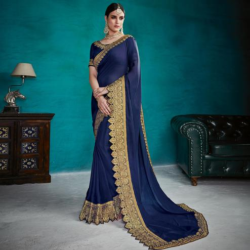 Groovy Navy Blue Colored Partywear Embroidered Rangoli Silk Saree