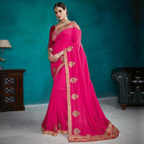 Prominent Pink Colored Partywear Embroidered Rangoli Silk Saree