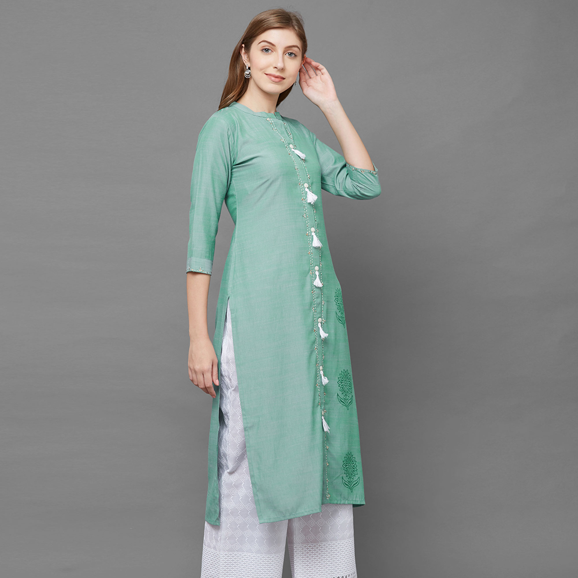Exceptional Light Green Colored Casual Printed Cotton Kurti