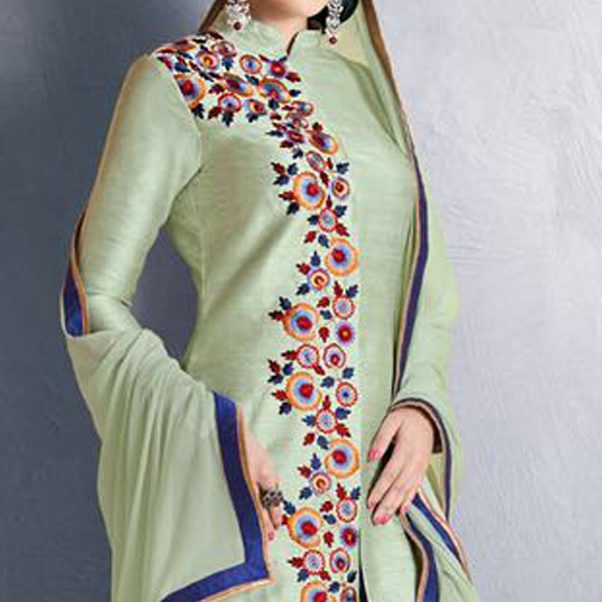 Pista Green Party Wear Designer Suit