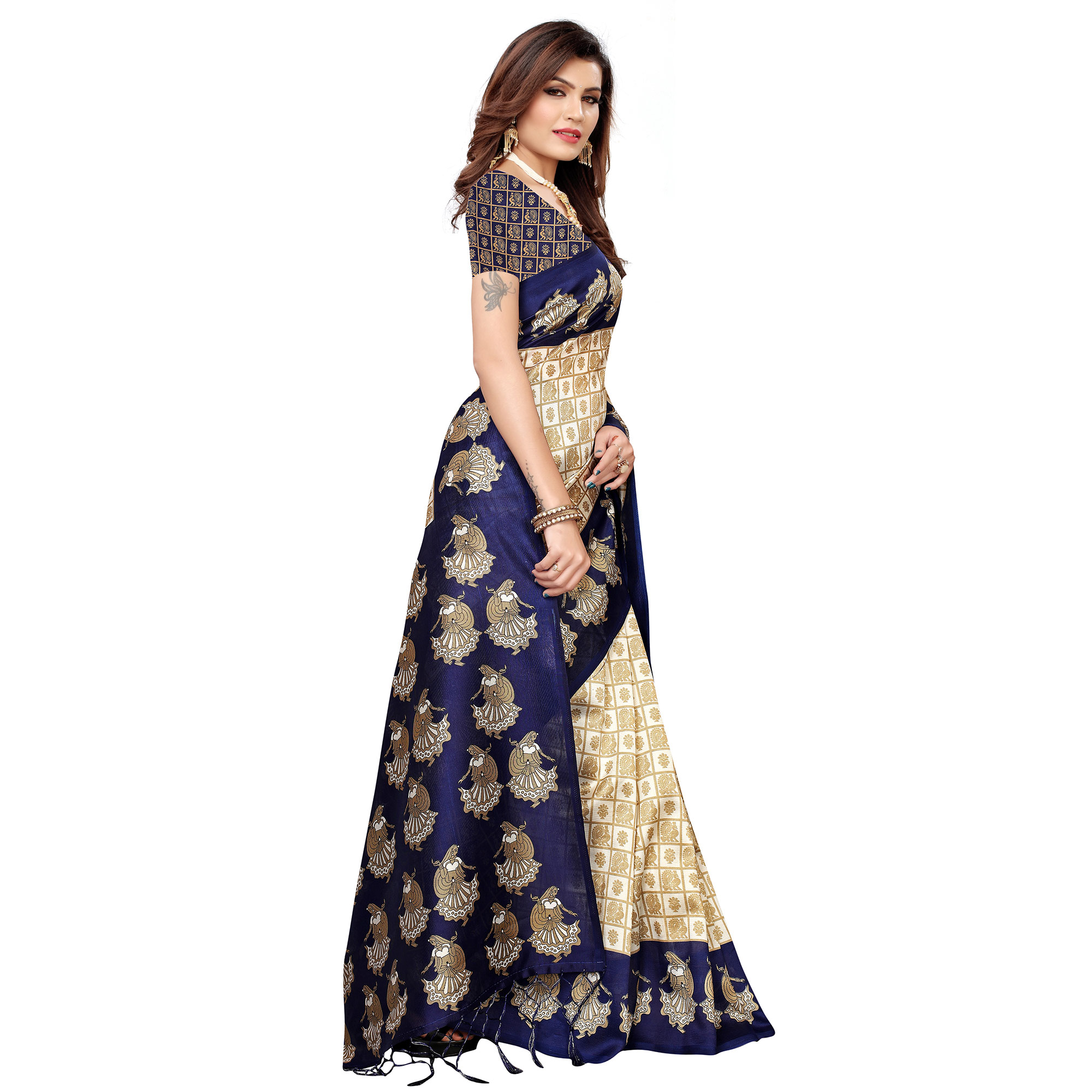 Magnetic Off White-Navy Blue Colored Festive Wear Art Silk Saree