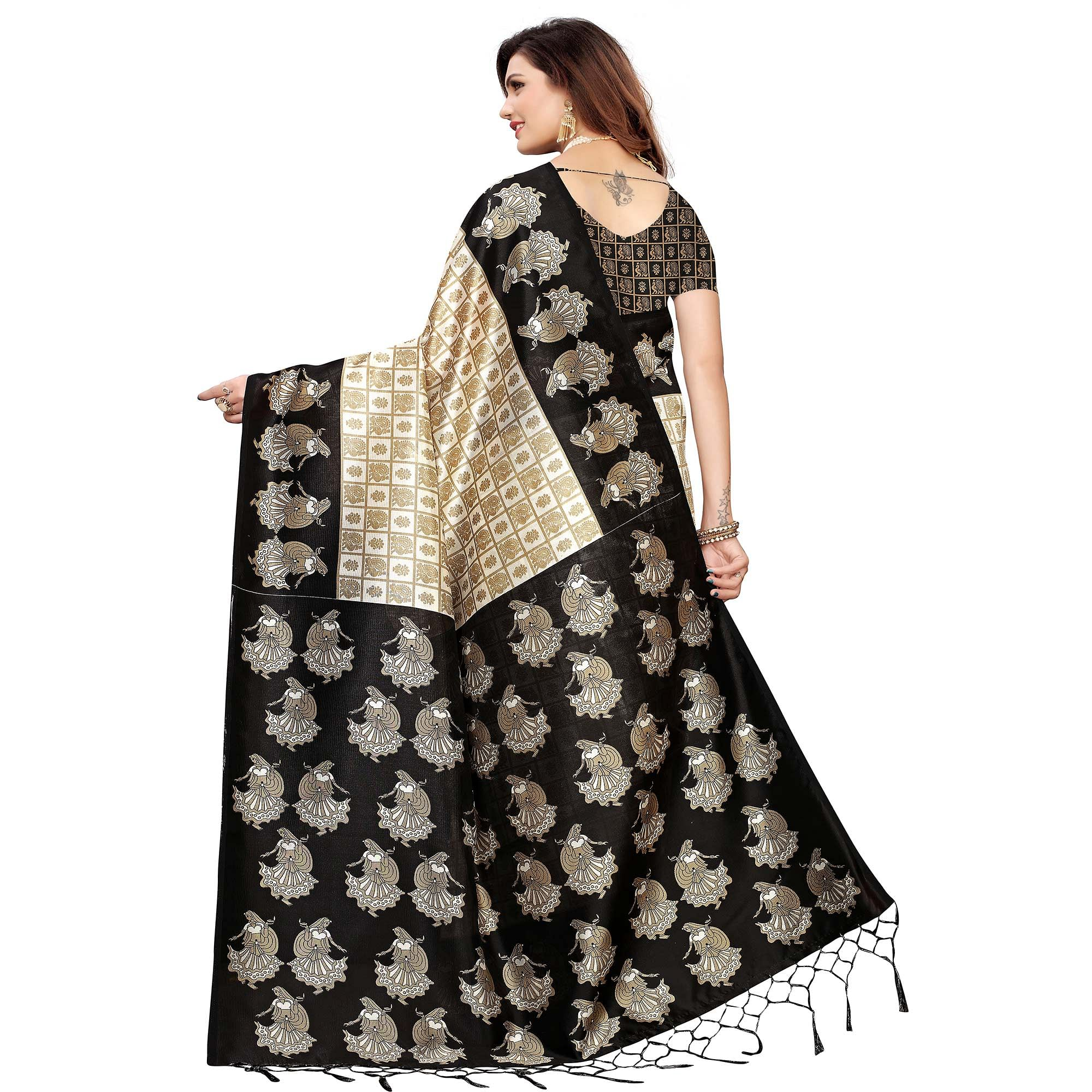 Hypnotic Off White-Black Colored Festive Wear Art Silk Saree