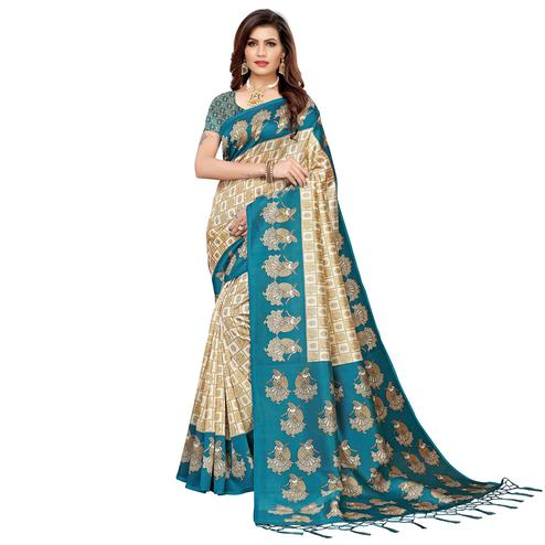 Excellent Off White-Blue Colored Festive Wear Art Silk Saree