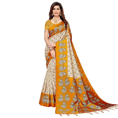 Preferable Off White-Light Orange Colored Festive Wear Art Silk Saree