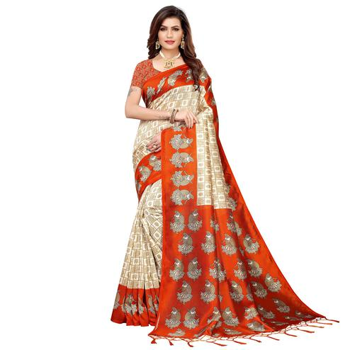 Marvellous Off White-Orange Colored Festive Wear Art Silk Saree
