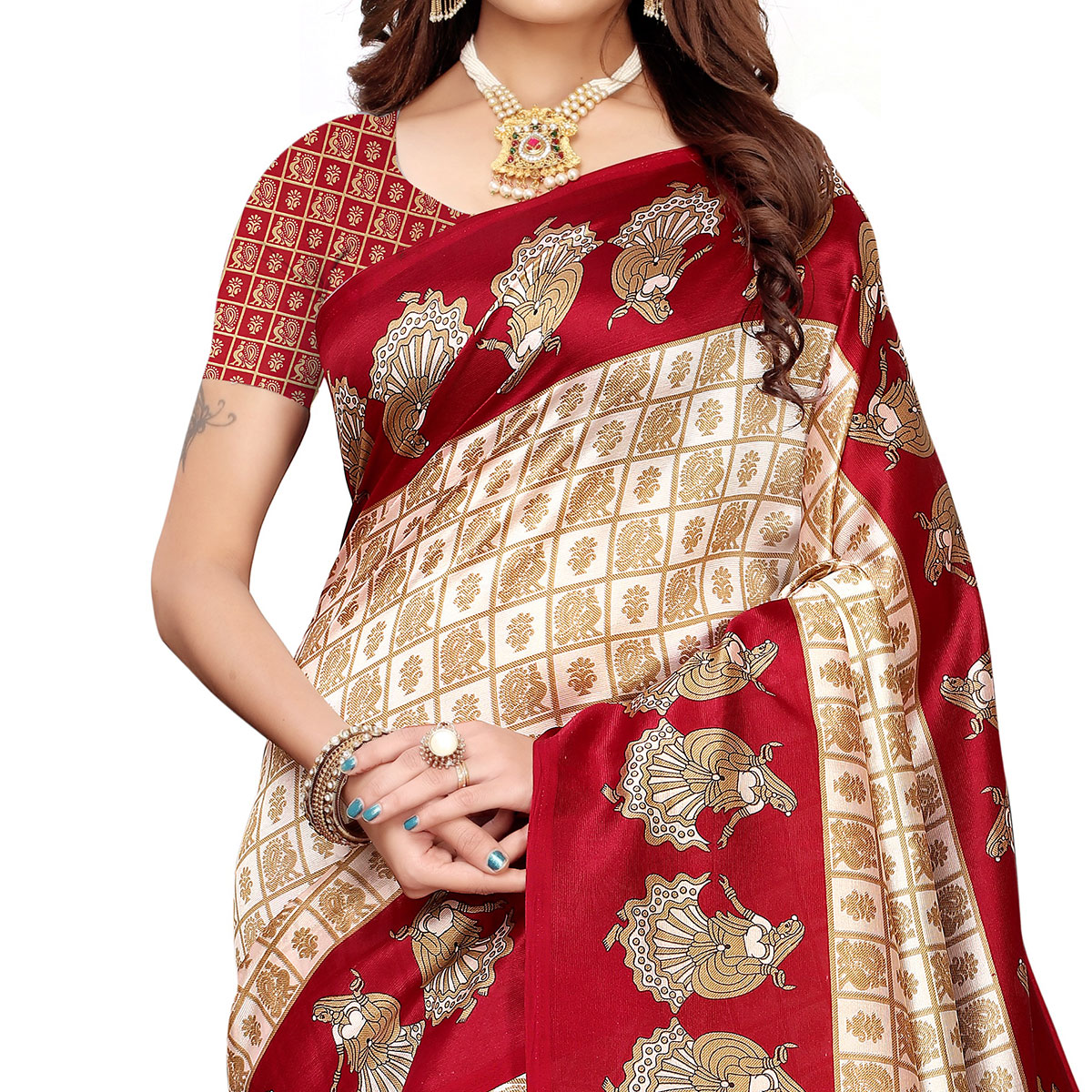 Flamboyant Off White-Maroon Colored Festive Wear Art Silk Saree