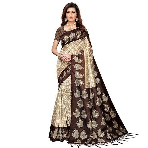 Pretty Off White-Brown Colored Festive Wear Art Silk Saree