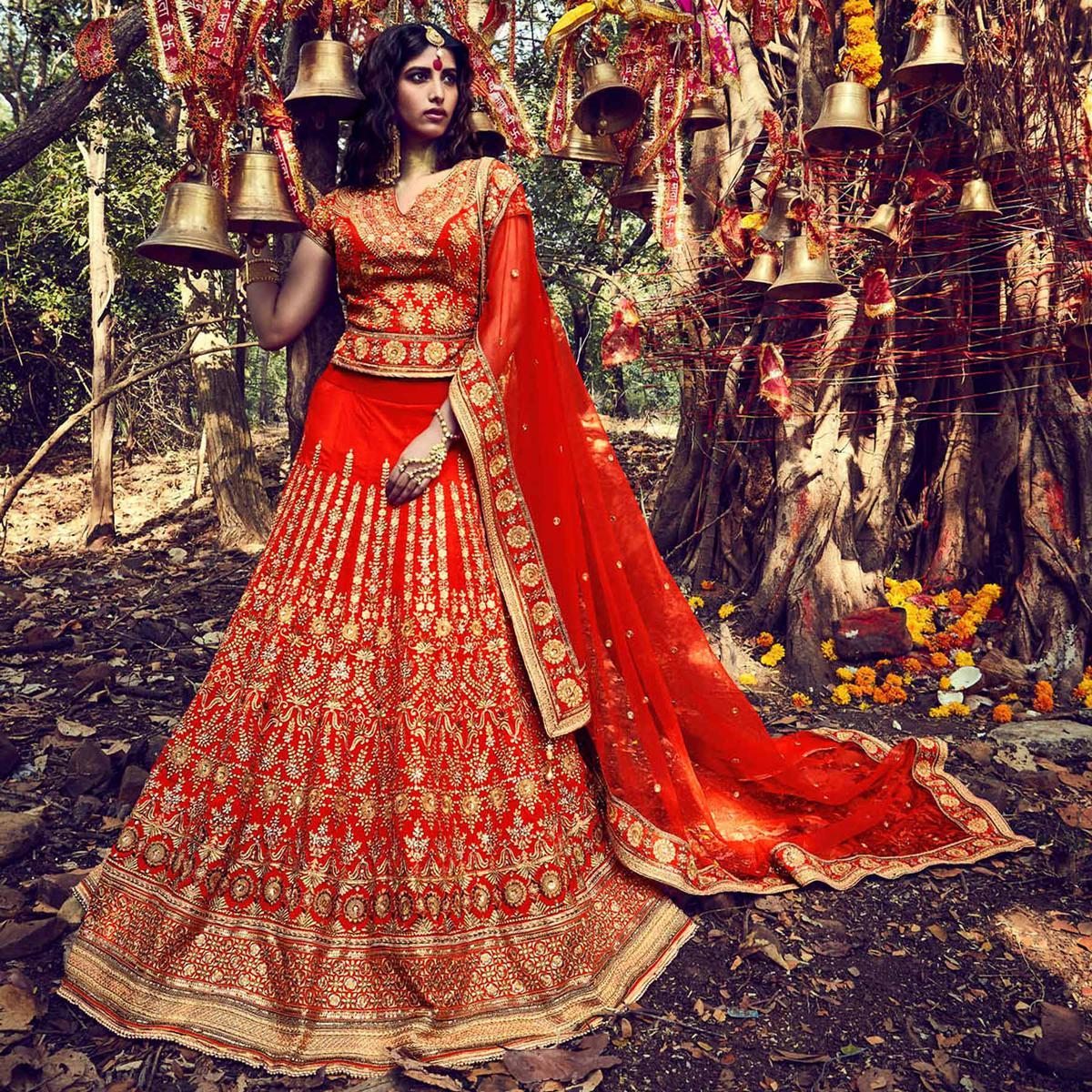 Orange Wedding Lehenga Choli
