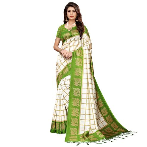 Alluring Off White-Green Colored Festive Wear Art Silk Saree
