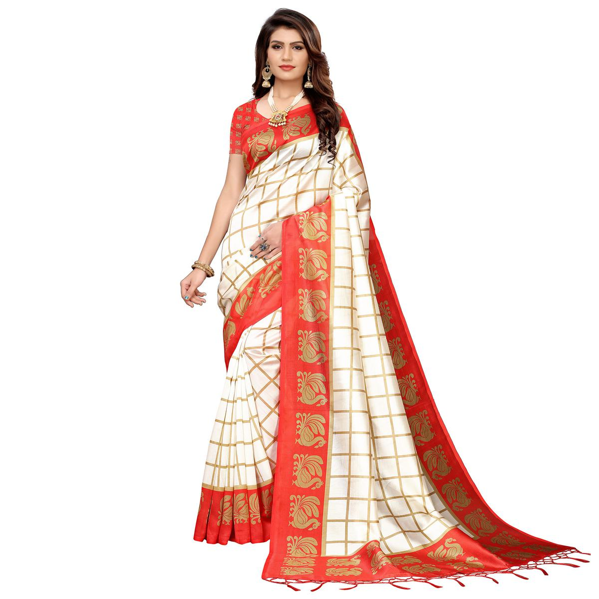 Sensational Off White-Red Colored Festive Wear Art Silk Saree