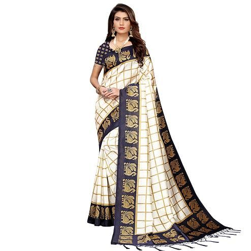 Flaunt Off White-Navy Blue Colored Festive Wear Art Silk Saree