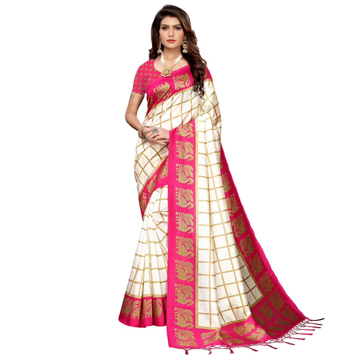 Stunning Off White-Pink Colored Festive Wear Art Silk Saree
