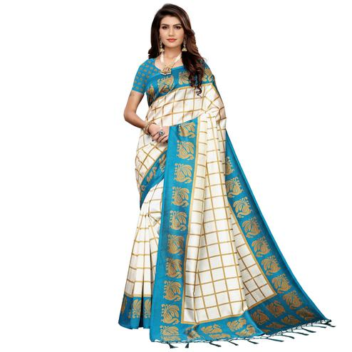 Flirty Off White-Sky Blue Colored Festive Wear Art Silk Saree
